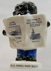 Carlton Ware Small Golly Newsreader - Ark Royal & Harrier GR9 Disbandment - SOLD